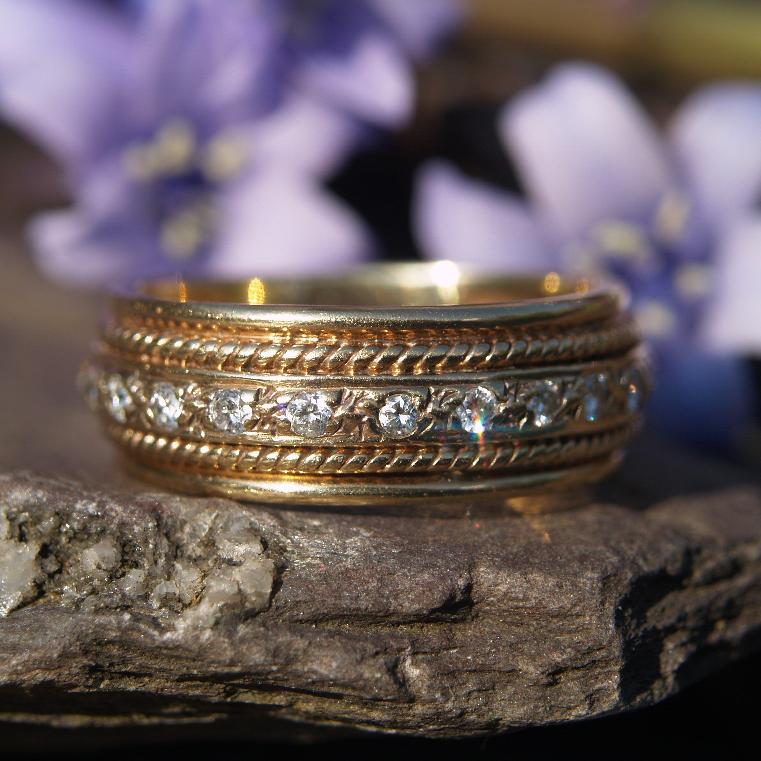 9ct Gold Diamond Set Wide Band Ring.