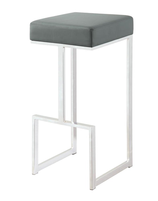 "G105262 Contemporary Chrome and Grey 29"" Bar Stool image"
