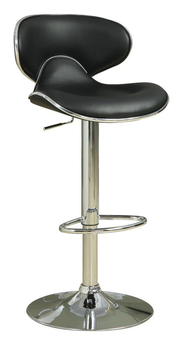 G120359 Contemporary Chrome and Black Adjustable Bar Stool image