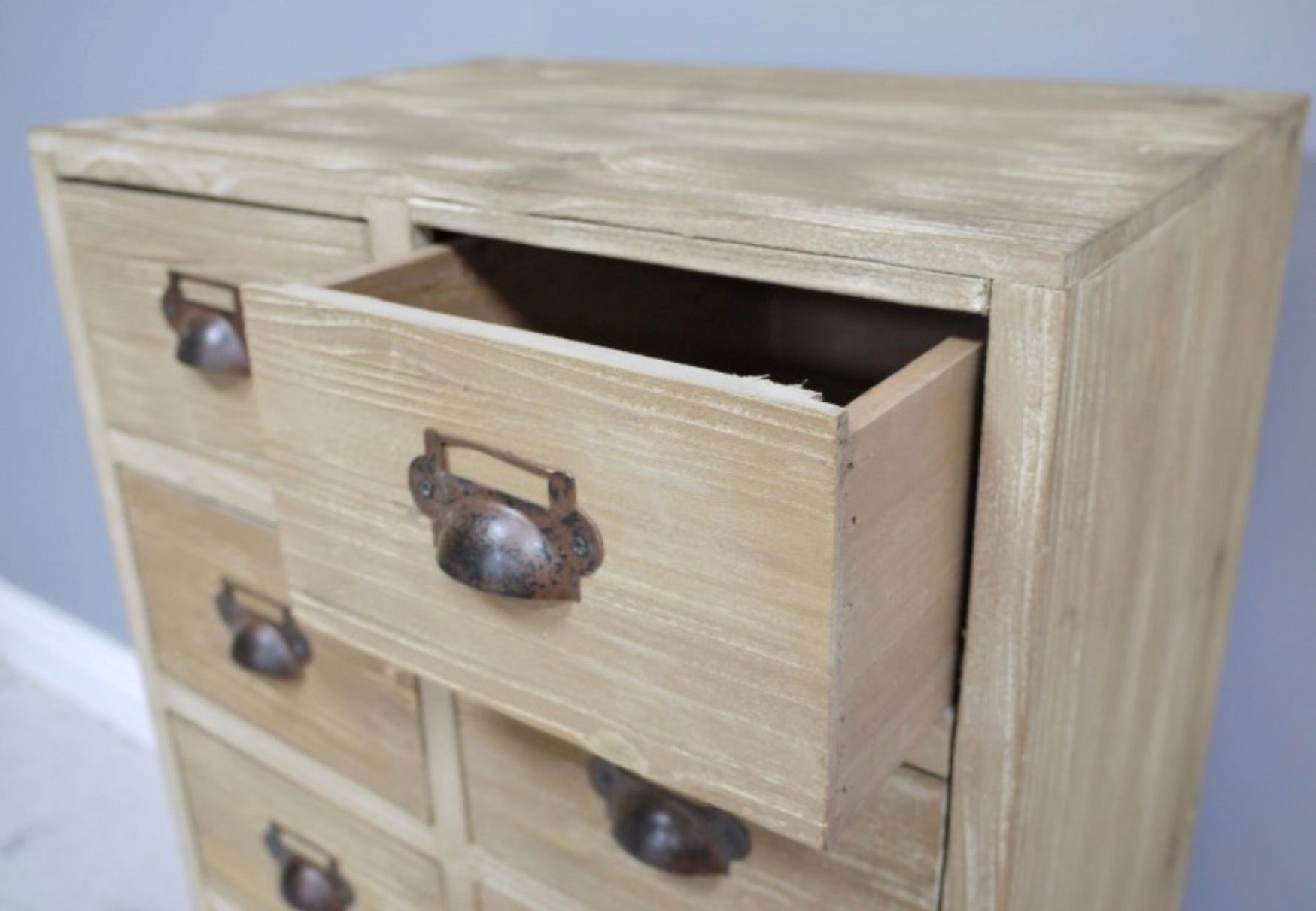 Small / Medium 9 Drawer Solid Pine Apothecary Cabinet Collectors Industrial.
