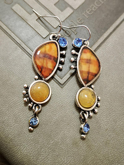 Synthetic color natural stone earrings