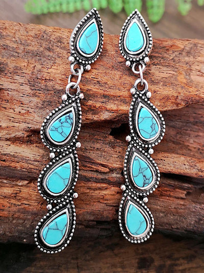 Tree leaf turquoise earrings
