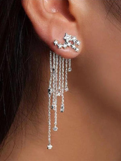 Earrings Shiny Tassel Women Star