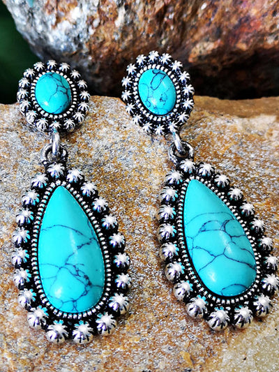 Ancient silver turquoise earrings