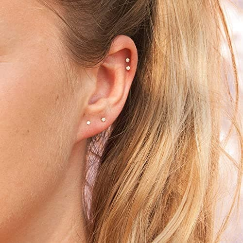 2mm Sterling Silver Swarovski Zirconia Stud Earrings (6091330977950) (6091337302174)