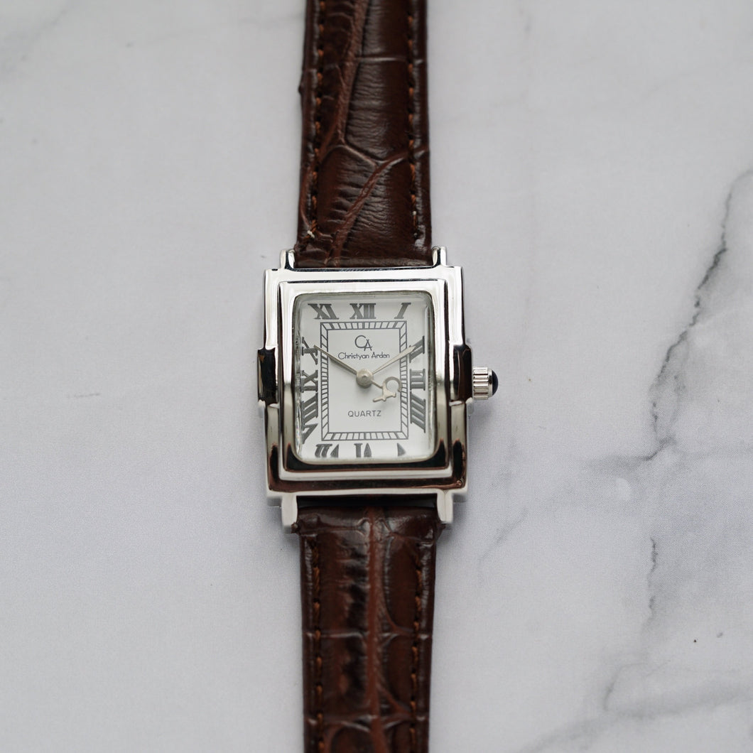 Christyan Arden CAESAR CA-0033 - Around The World Edition - White Dial - Brown Full Grain Strap (Wanita)