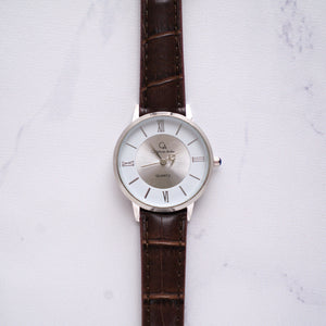 Christyan Arden Full Grain Leather CA0009 Brown - White Dial (Wanita)