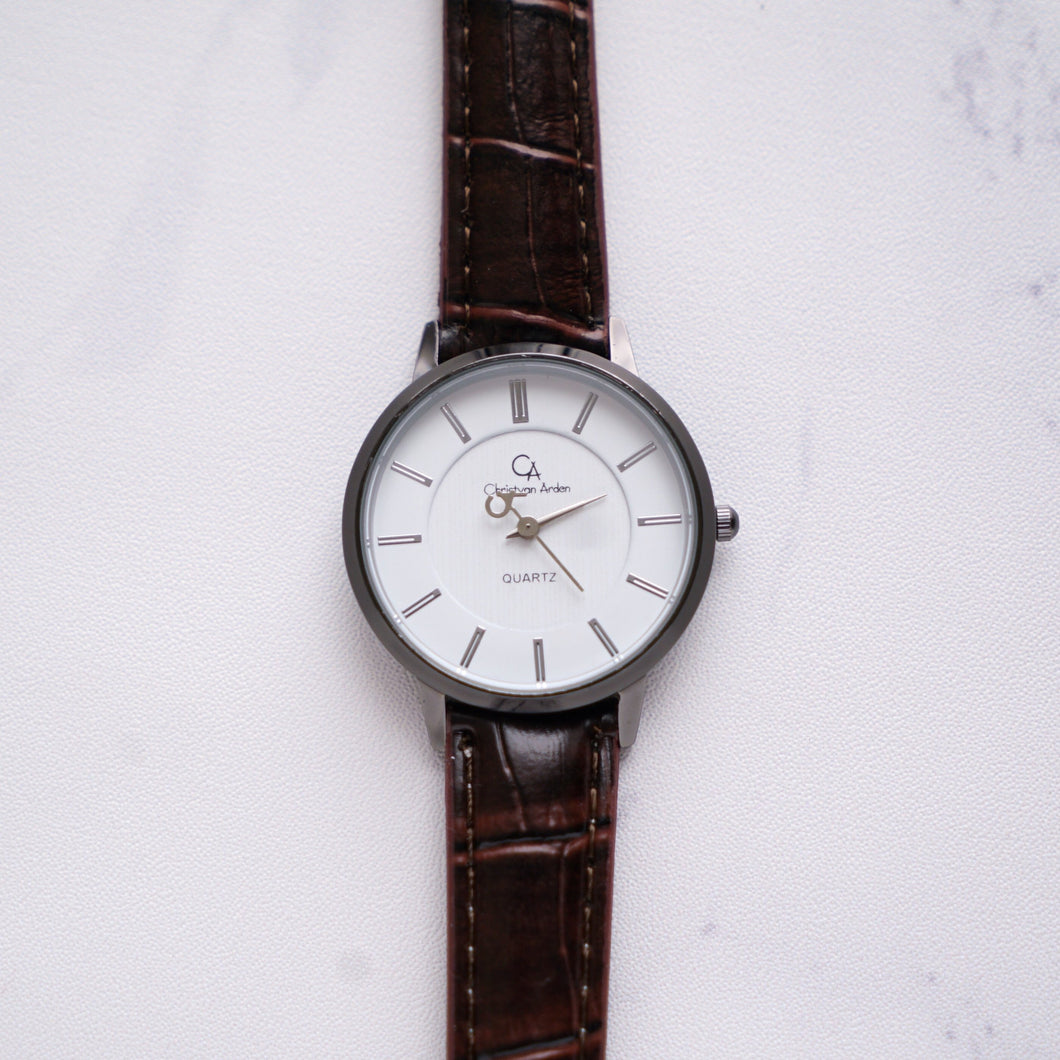 Christyan Arden Full Grain Leather CA0021 Brown - White Dial (Wanita)