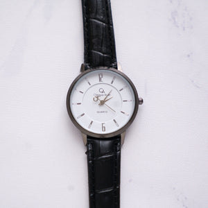 Christyan Arden Full Grain Leather CA0024 Black - White Dial (Wanita)