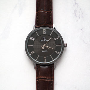 Christyan Arden Full Grain Leather CA0027 Brown - Black Dial (Pria)