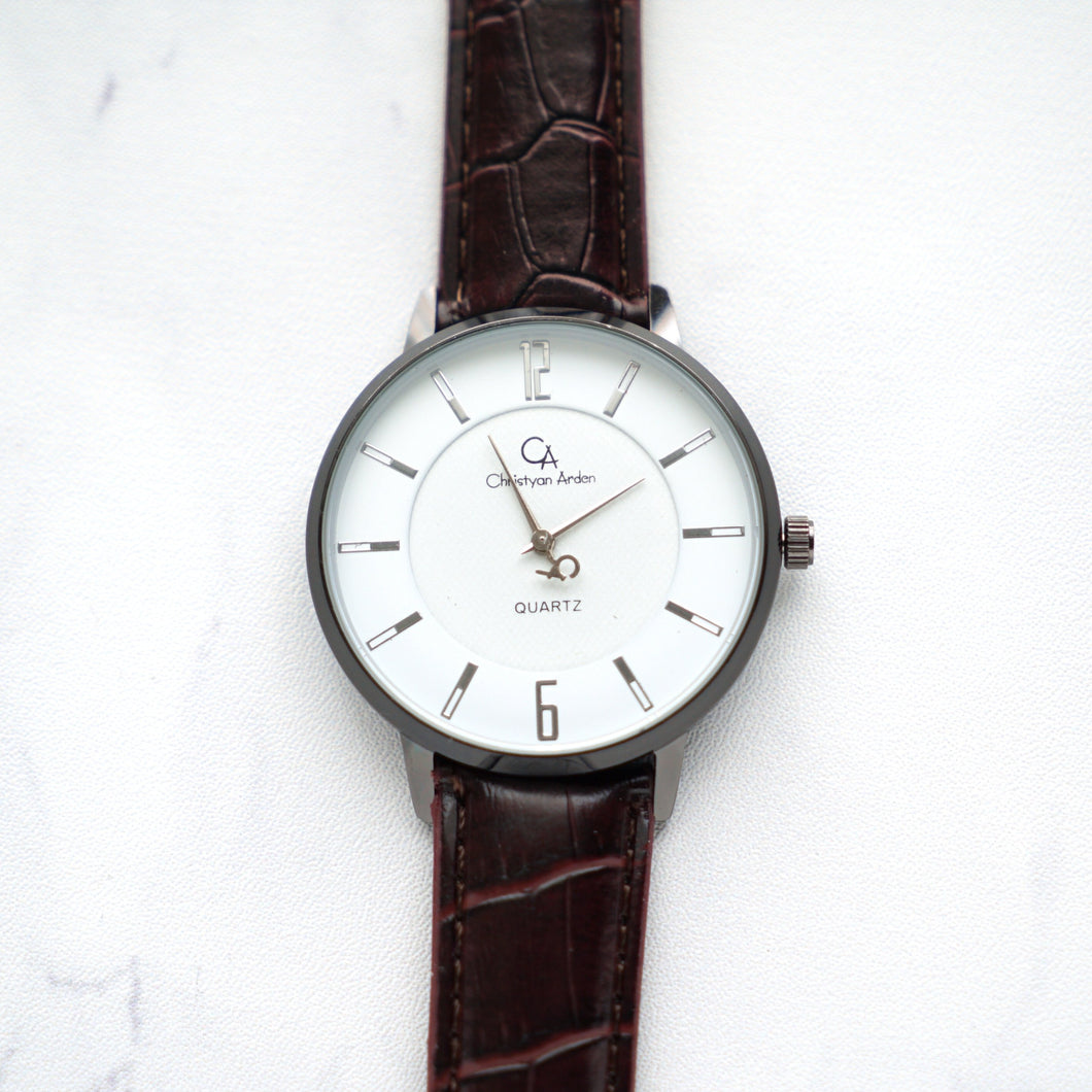 Christyan Arden Full Grain Leather CA0024 Brown - White Dial (Pria)