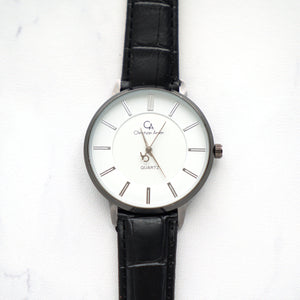 Christyan Arden Full Grain Leather CA0021 Black - White Dial (Wanita)