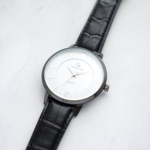 Christyan Arden Full Grain Leather CA0029 Black - White Dial (Wanita)