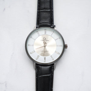 Christyan Arden Full Grain Leather CA0022 Black - White Dial (Wanita)
