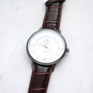 Christyan Arden Full Grain Leather CA0029 Brown - White Dial (Pria)