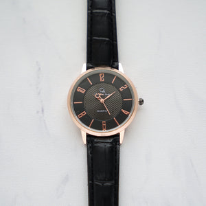 Christyan Arden Full Grain Leather CA0017 Black - Black Dial (Wanita)