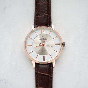 Christyan Arden Full Grain Leather CA0013 Brown - White Dial (Pria)
