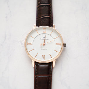 Christyan Arden Full Grain Leather CA0019 Brown - White Dial (Pria)