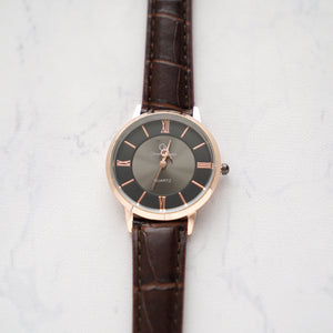 Christyan Arden Full Grain Leather CA0019 Brown - Black Dial (Wanita)
