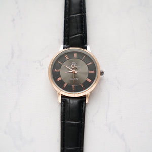 Christyan Arden Full Grain Leather CA0012 Black - Black Dial (Wanita)