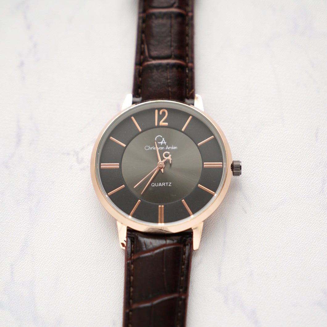 Christyan Arden Full Grain Leather CA0013 Brown - Black Dial (Pria)