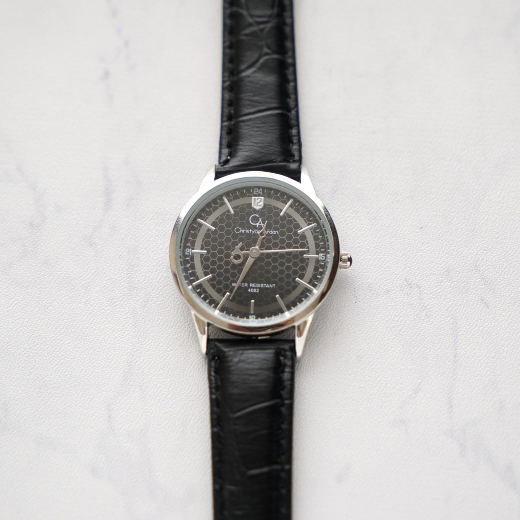 Christyan Arden Full Grain Leather CA4082 Black - Black Dial (Wanita)