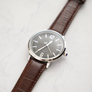 Christyan Arden Full Grain Leather CA4125 Brown - Black Dial (Pria)