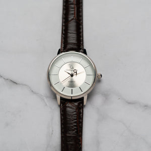 Christyan Arden ANTHEA CA-0008H - Around The World Edition - White Dial - Brown Full Grain Strap (Wanita)