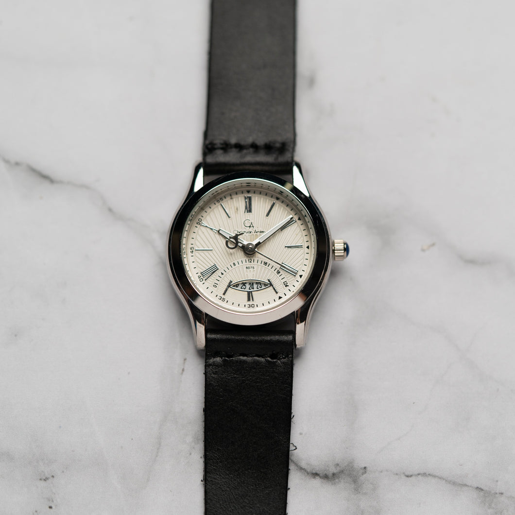Christyan Arden Full Grain Leather CA8075 Black - White Dial (Wanita)