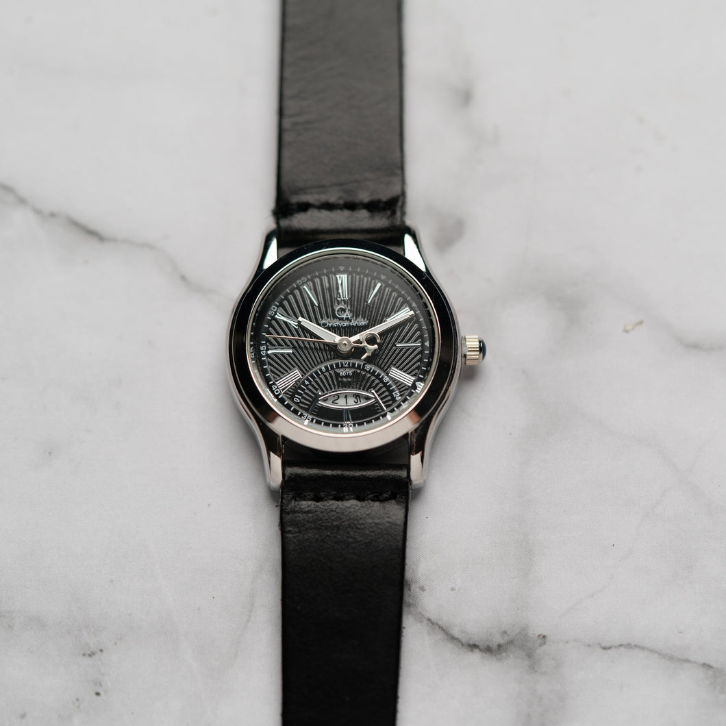 Christyan Arden Full Grain Leather CA8075 Black - Black Dial (Wanita)