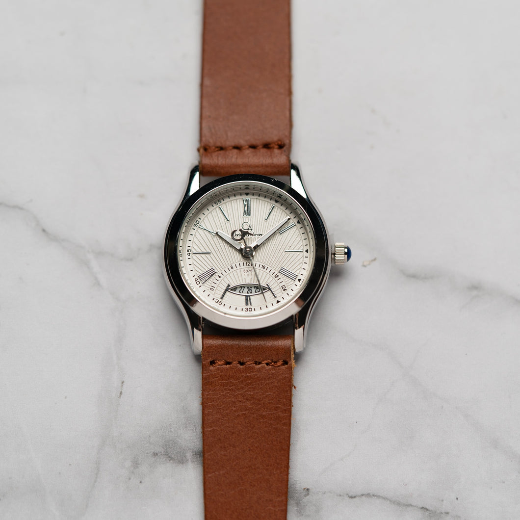 Christyan Arden Full Grain Leather CA8075 Brown - White Dial (Wanita)
