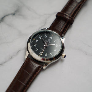 Christyan Arden ORRIN CA3209 - Around The World Edition - Black Dial - Brown Full Grain Strap (Pria)