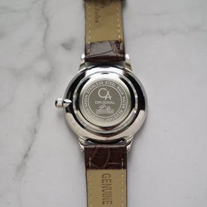 Christyan Arden LENORE CA3207 - Around The World Edition - Silver Sunburst Dial - Brown Full Grain Strap (Pria)