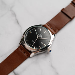 New Christyan Arden FINN CA3102 - Around The World Edition - Black Dial - Brown Full Grain Strap (Pria)