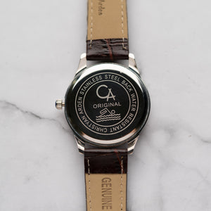 New Christyan Arden ARES CA3110 - Around The World Edition - Gold SunBurst Dial - Brown Strap (Pria)