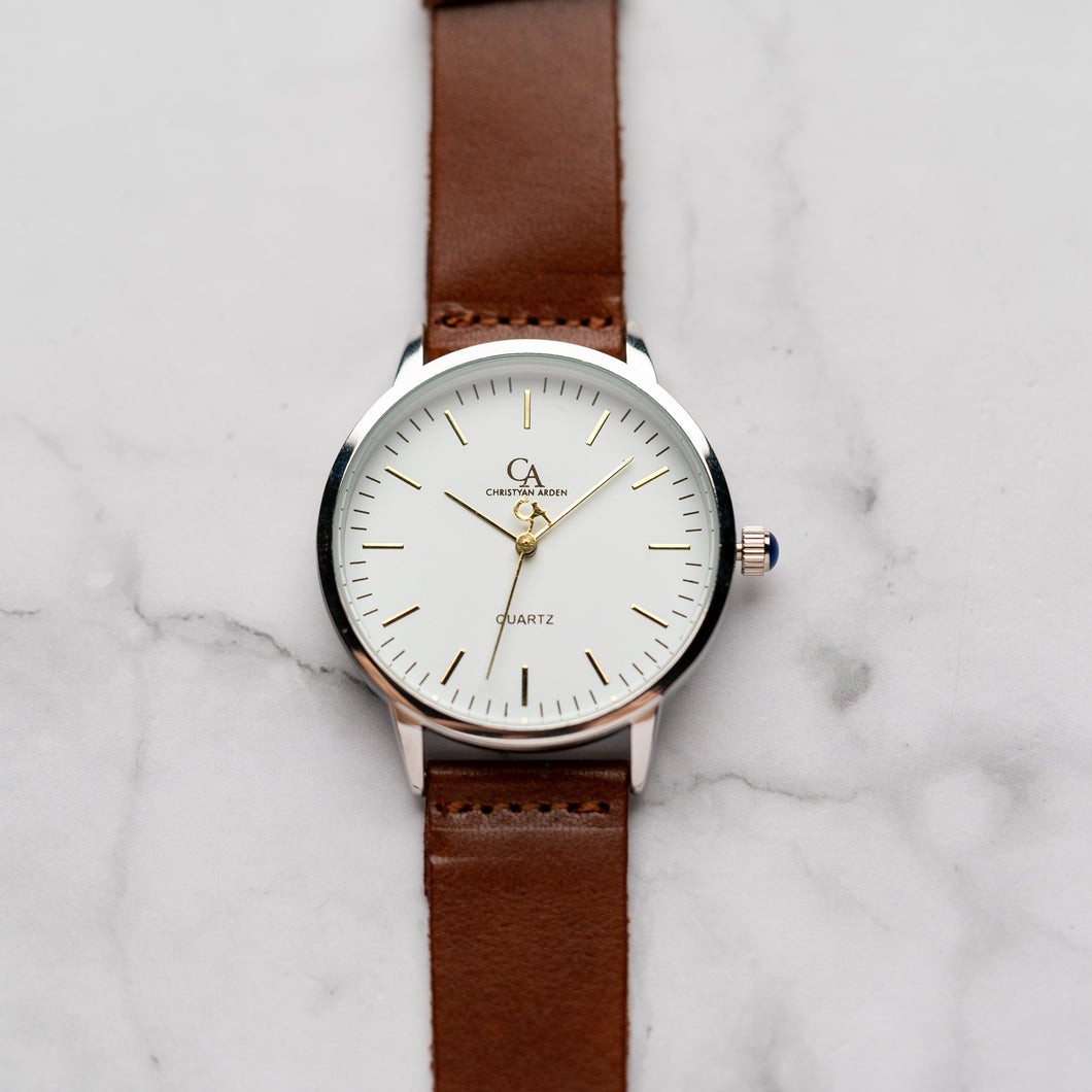 New Christyan Arden OTHELLO CA3208 - Around The World Edition - White Dial - Brown Full Grain Strap (Pria)