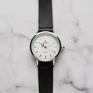 New Christyan Arden OTHELLO CA3208 - Around The World Edition - White Dial - Black Full Grain Strap (Wanita)