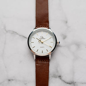 New Christyan Arden OTHELLO CA3208 - Around The World Edition - White Dial - Brown Full Grain Strap (Wanita)