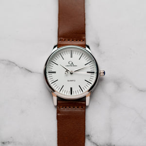 New Christyan Arden XANDER CA3210 - Around The World Edition - White Dial - Brown Full Grain Strap (Pria)