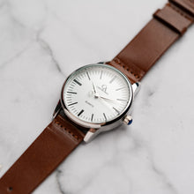 Load image into Gallery viewer, New Christyan Arden XANDER CA3210 - Around The World Edition - White Dial - Brown Full Grain Strap (Pria)