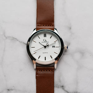 New Christyan Arden NEO CA-0001 - Around The World Edition - White Dial - Brown Strap (Pria)