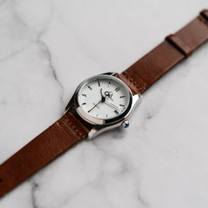 New Christyan Arden ICARUS CA-001 - Around The World Edition - White Dial - Brown Full Grain Strap (Wanita)