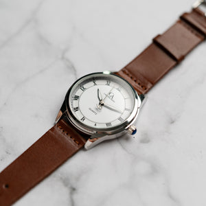 New Christyan Arden FALANA CA3212 - Around The World Edition - White Dial - Brown Full Grain Strap (Pria)