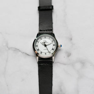 New Christyan Arden FALANA CA3212 - Around The World Edition - White Dial - Black Full Grain Strap (Wanita)