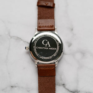 New Christyan Arden GALENA CA3216 - Around The World Edition - White Dial - Brown Full Grain Strap (Pria)