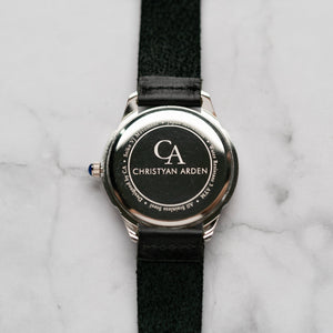 New Christyan Arden AVA CA3215 - Around The World Edition - White Dial - Black Full Grain Strap (Pria)