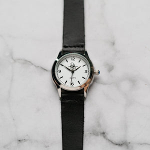 New Christyan Arden AVA CA3215 - Around The World Edition - White Dial - Black Full Grain Strap (Wanita)