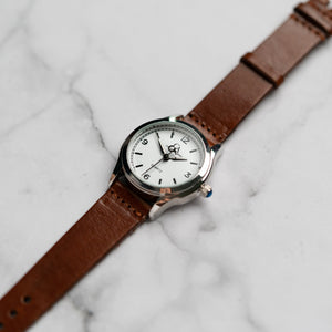 New Christyan Arden AVA CA3215 - Around The World Edition - White Dial - Brown Full Grain Strap (Wanita)
