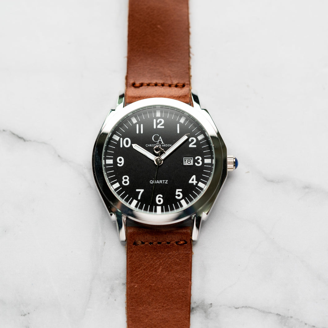 New Christyan Arden TITAN CA-0002 - Around The World Edition - Black Dial - Brown Strap (Pria)