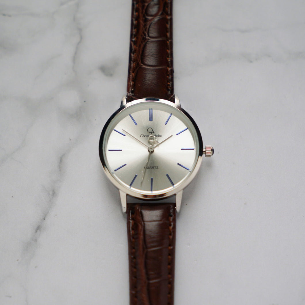 Christyan Arden LENORE CA3207 - Around The World Edition - Silver Sunburst Dial - Brown Full Grain Strap (Wanita)